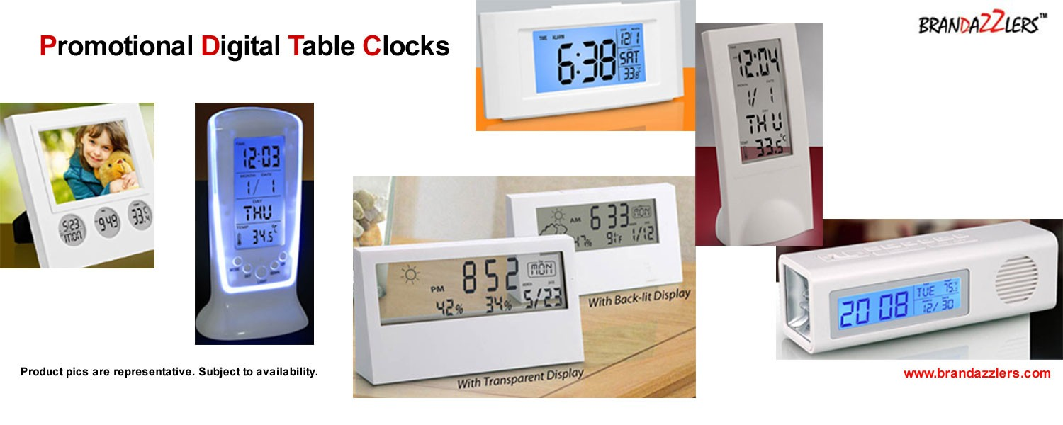 Promotional digital table clocks as desktop items corporate gifts