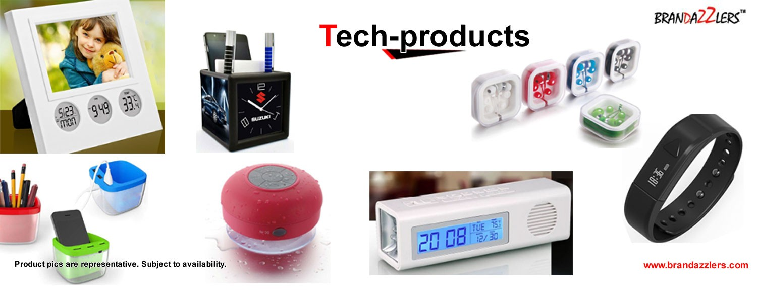 Corporate gift ideas, bluetooth speakers, health bands, Promotional tech products as corporate gifts