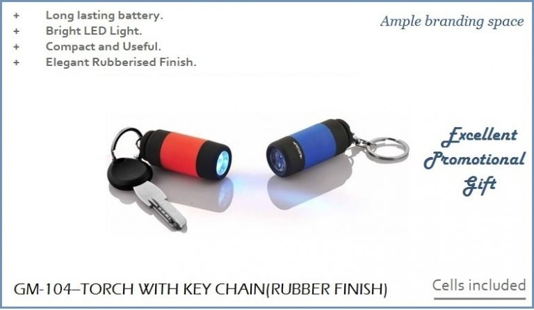 GM-104--RUBBERISED TORCH KEY CHAIN